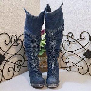 MARKALIK Denim👖Wedge Knee High Boots